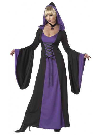 Hooded Robe Purple and Black